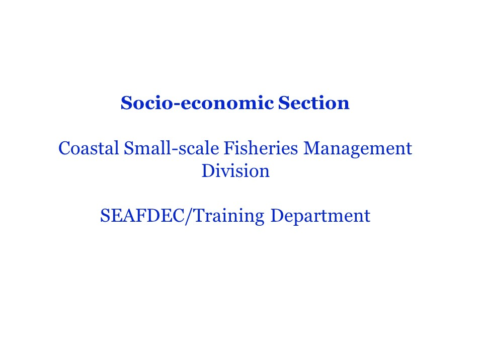Fisheries Socio-Economics
