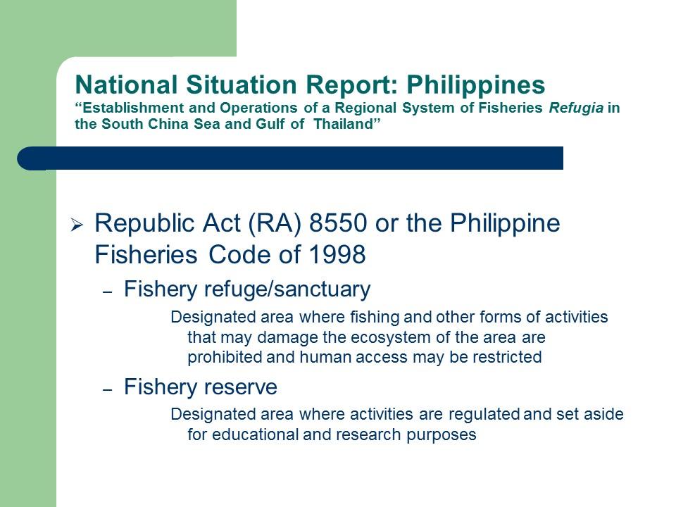 Philippines Status Report